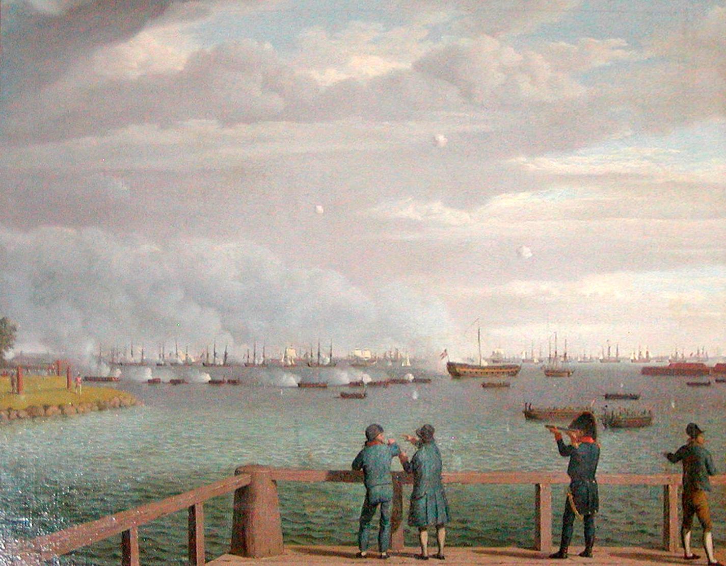 Den engelske flåde ud for København august 1807. Wikimedia.