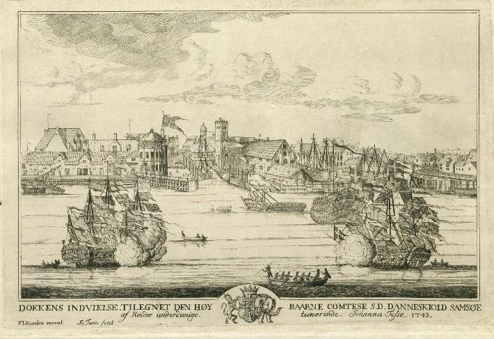 Københavns Havn, Dokken indvies 1743. Det Kgl. Bibliotek.