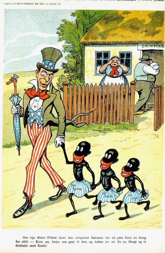 """Satirebladet Blæksprutten bragte i 1917 tegningen med Præsident Wilsons ord til de tre sorte børn: """"Kom nu boys, så går vi hen og køber jer en fin ny dragt og et guldur med kæde"""". Tegner: Alfred Schmidt."""